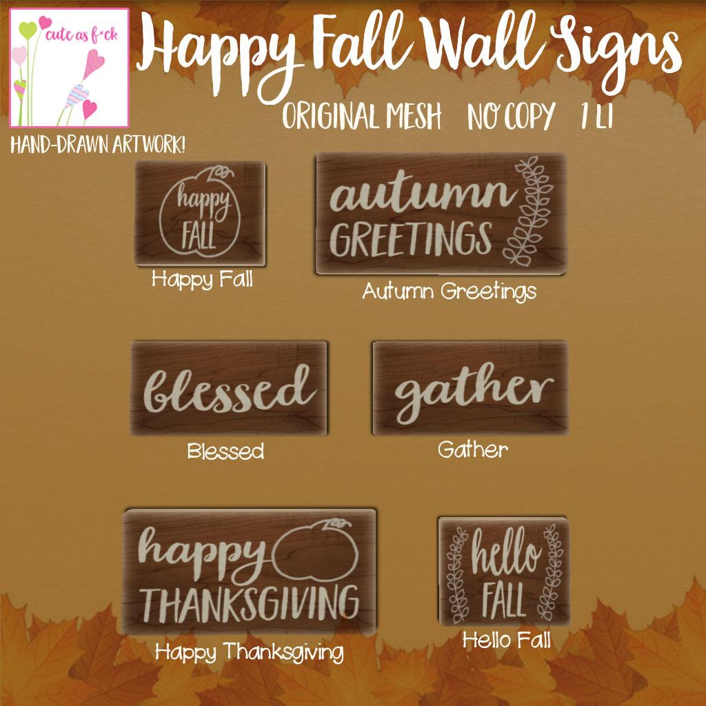 Happy Fall Wall Sign Gacha Key - SecondLifeHub.com