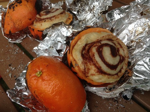 Cinnamon Rolls Cooked in Campfire
