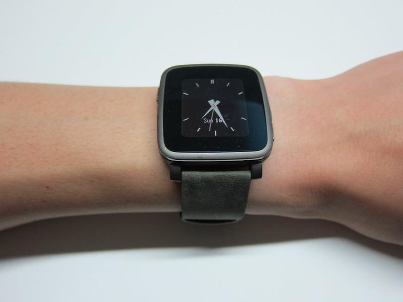 Pebble Time Steel Watch - On Wrist
