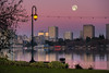 The Moon around Sunrise Time, Winter in Oakland, California, USA