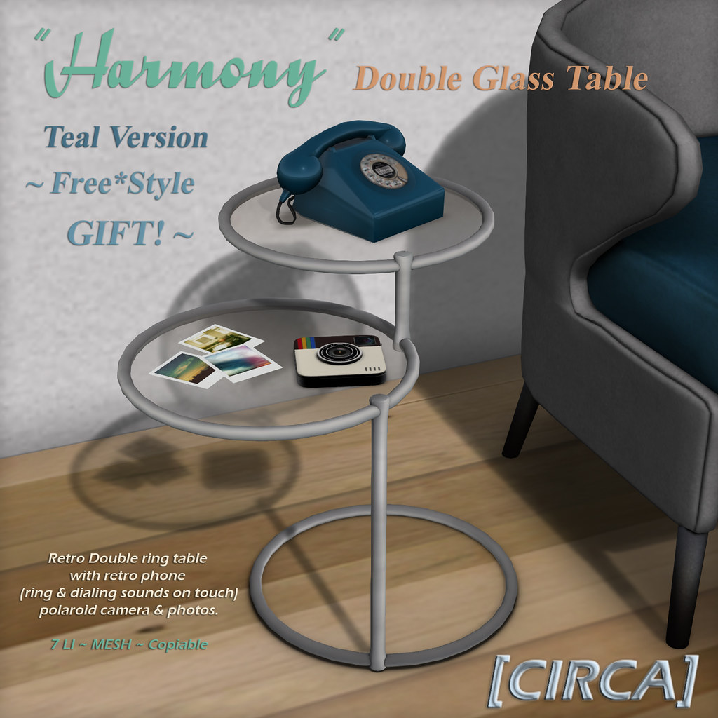 "New GIFT @ Shop Free*Style! ~ [CIRCA] - ""Harmony"" - Double Glass Table - Teal"