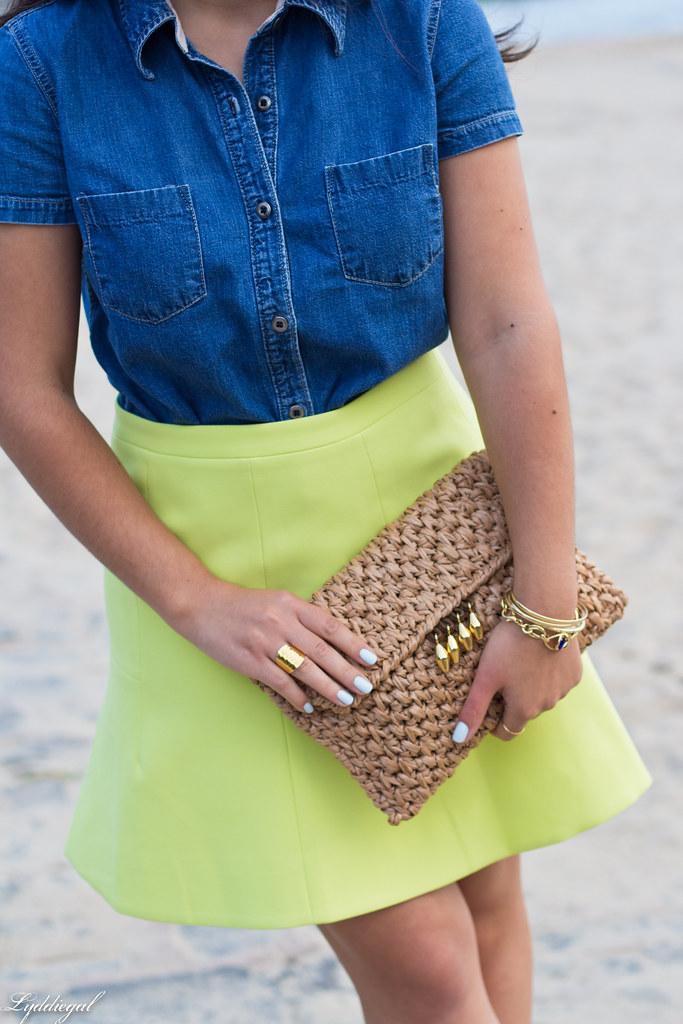 chambray shirt, neon skirt, panama hat-4.jpg