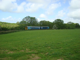 Class 158 train on the Milford Haven branch in Pembrokeshire