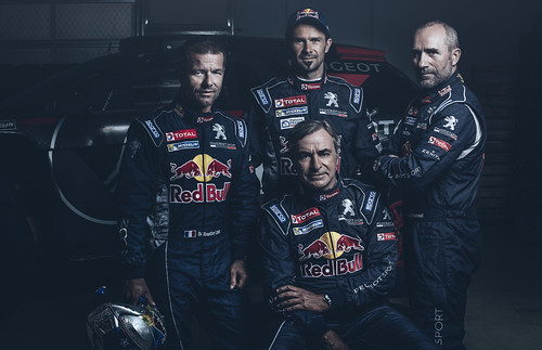 Sebastien Loeb, Cyril Despres, Carlos Sainz and Stephane Peterhansel Peugeot Dakar 2015