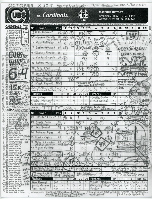 October 13, 2015: Cubs vs Cardinals NLDS championship scorecard from Wrigley Field