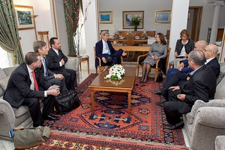 Secretary Kerry, Ambassador Rubinstein, Assistant Secretary Malinowski, and National Security Council Senior Director Pelofsky Sit with Members of the Nobel Peace Prize-winning Quartet Before Meeting in Tunis