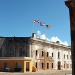 Image of Castillo San Cristóbal near San Juan. old blue sky castle puerto town site san arch juan fort arc sunny landmark historic rico pr cristobal castillo sju benteng konomark