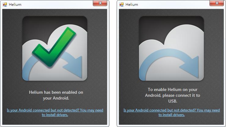 使用 Helium Desktop 檢視 Android 裝置是否與個人電腦正常連接