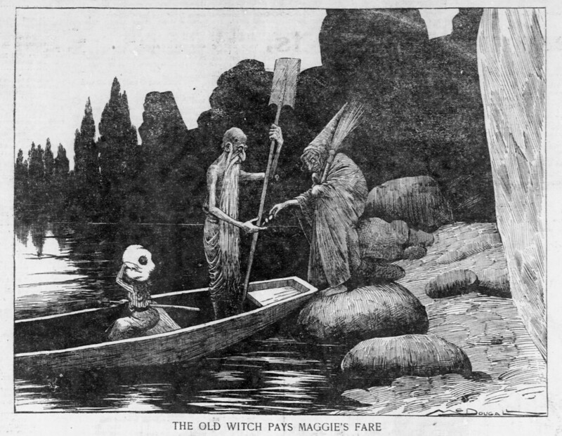 Walt McDougall - The Salt Lake herald., November 09, 1902, The Old Witch Pays Maggie's Fare