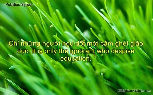 Chỉ những người ngu dốt mới căm ghét giáo dục. It is only the ignorant who