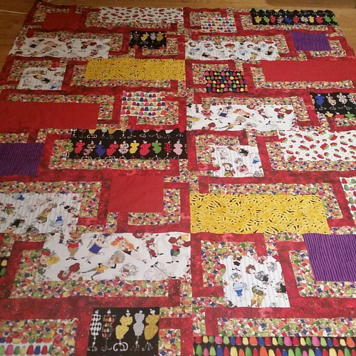 My first finish,  a Loralie Designs quilt top, made from mom's stash.