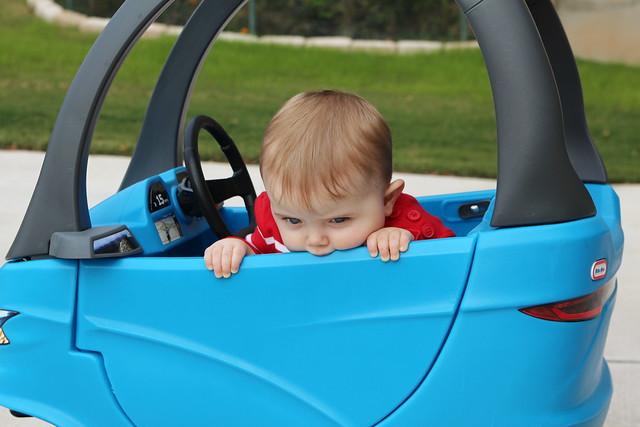 Finn in his new car