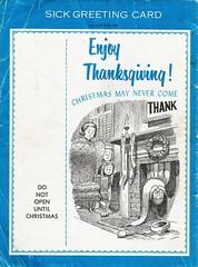 Sick Thanksgiving greeting card, 1964
