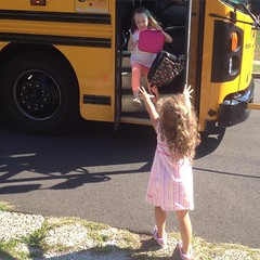 Home. Both first days were successes. #firstdayofschool #firstday #firstgrade #prek #prek4 #sisters #school #schoolbus