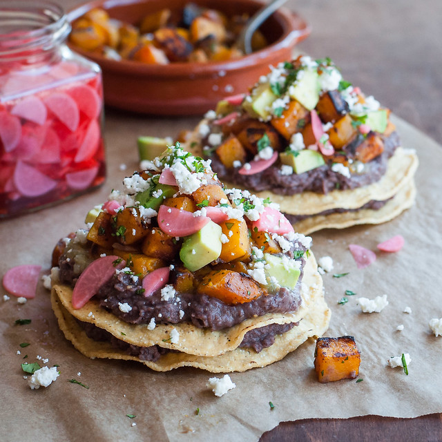 Double decker butternut squash tostadas with quick black bean spread