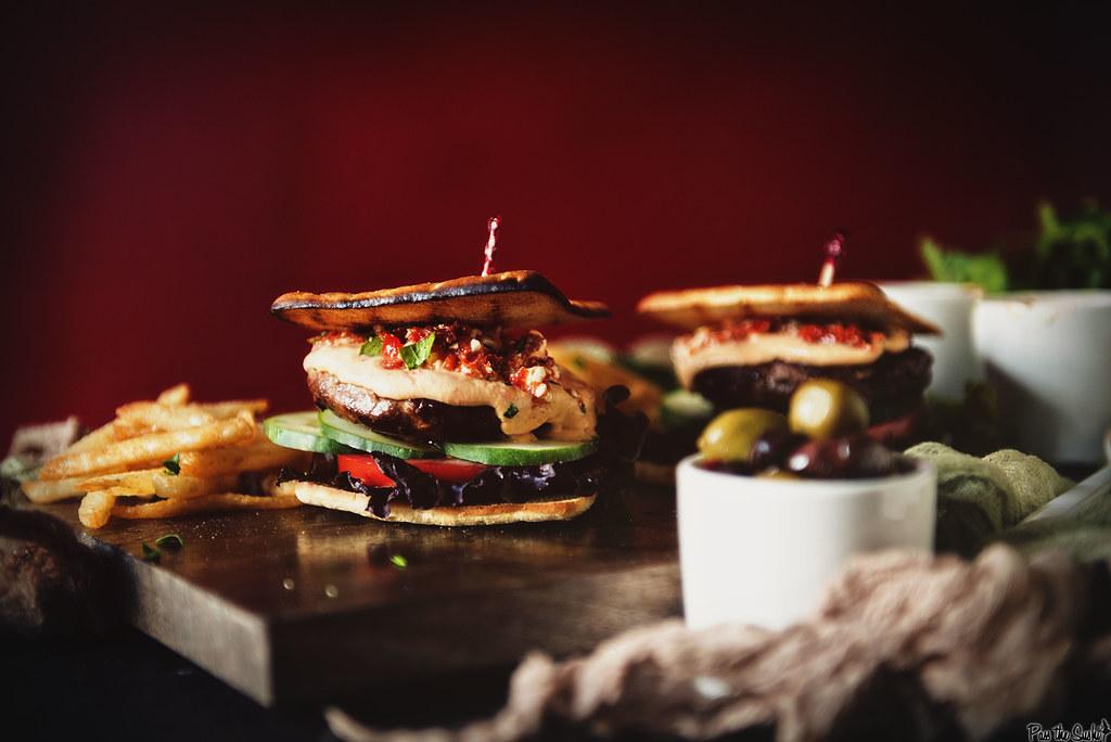 Roasted Red Pepper Hummus Lamb Burger \\ GirlCarnivore.com