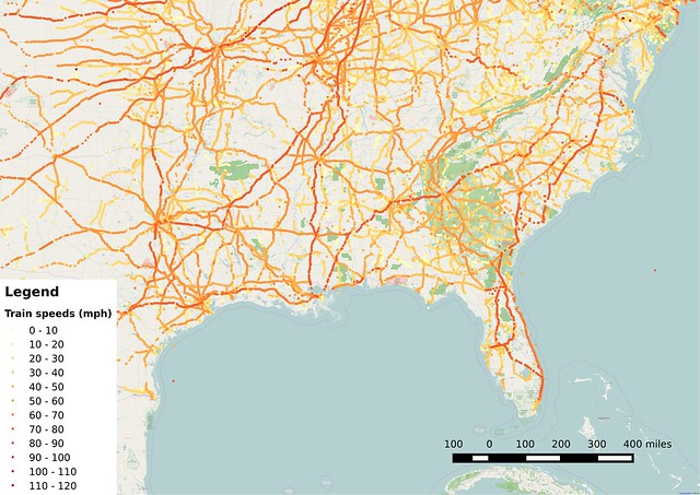 Map of train speeds at grade crossings in the southeastern U.S.