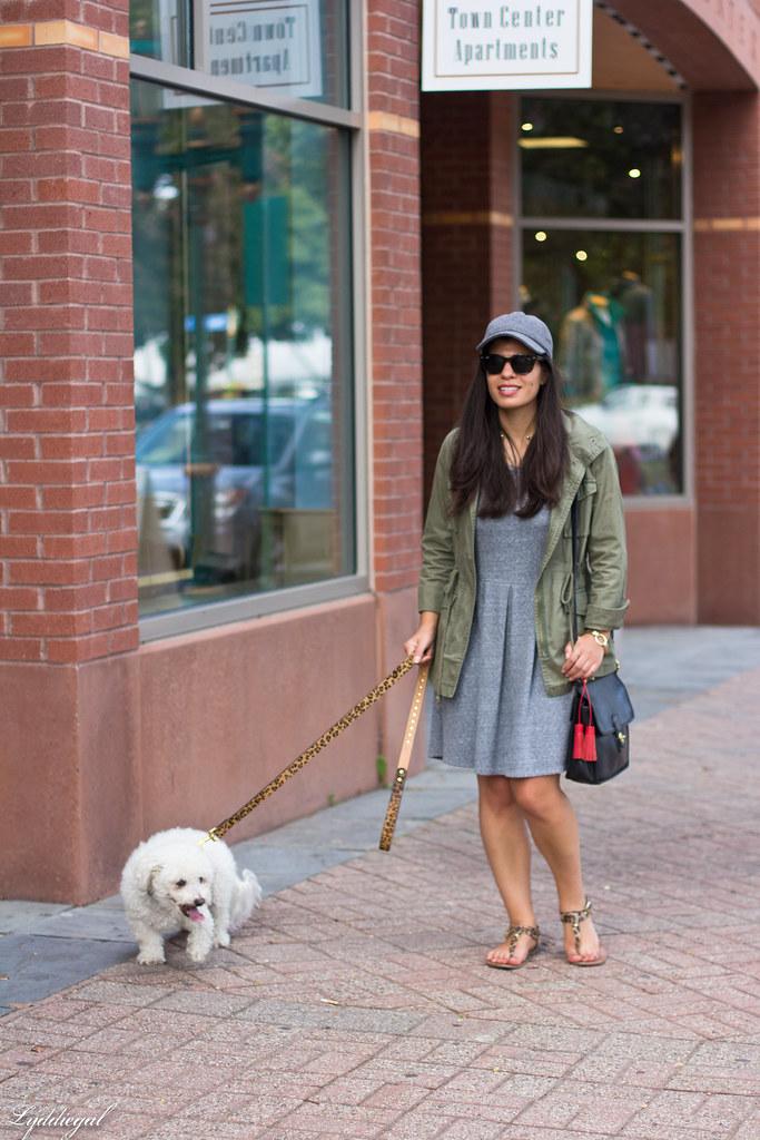 grey sweatshirt dress, field jacket, wool ball cap, dog walking-2.jpg