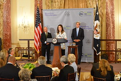 "Assistant Secretary Ryan delivers remarks alongside U.S. Secretary of State John Kerry and UN Secretary-General's Special Envoy for Cities and Climate Change Michael R. Bloomberg at the ""Our Cities, Our Climate: A Bloomberg Philanthropies - U.S. Department of State Partnership"" working luncheon, at the U.S. Department of State. [State Department Photo/Public Domain]"