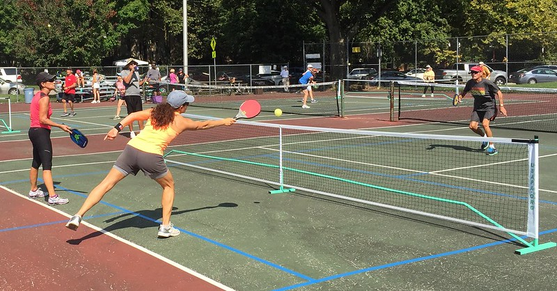 Enthusiasts whack pickleballs