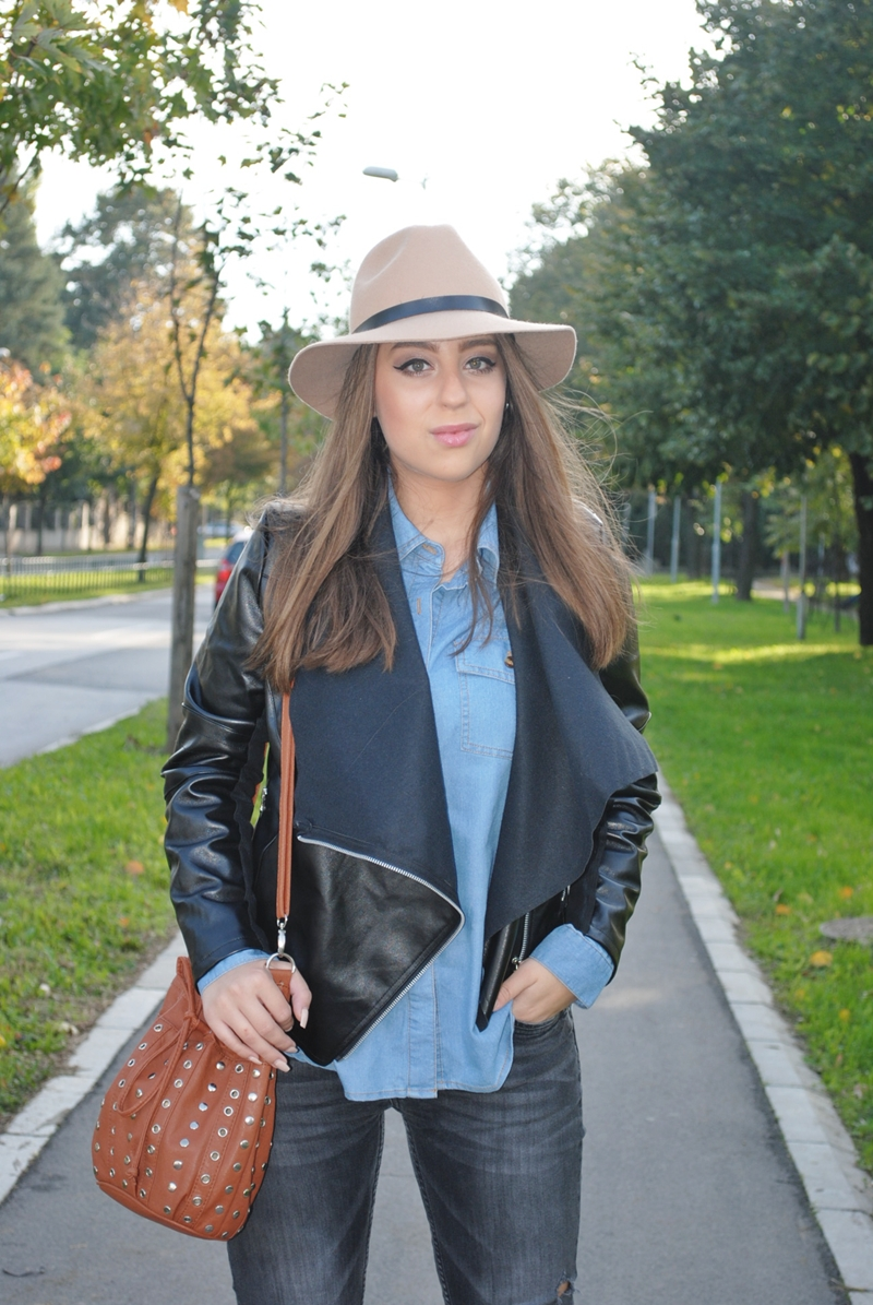 Denim Shirt & Leather Jacket Look | By Maja Mladenovic