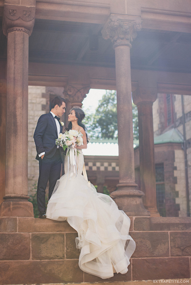 boston wedding trinity church first look lazaro dress