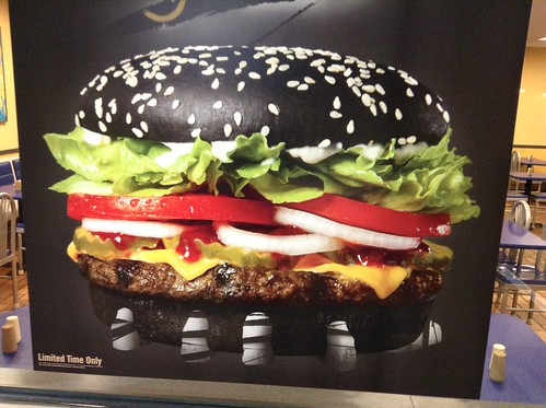 Burger King Halloween Whopper with Black Buns, and A-1 Steak Sauce! 9/2015, pics by Mike Mozart of TheToyChannel and JeepersMedia on YouTube #BurgerKing #Burger #King #Halloween #Whopper #2015 #Black #Buns