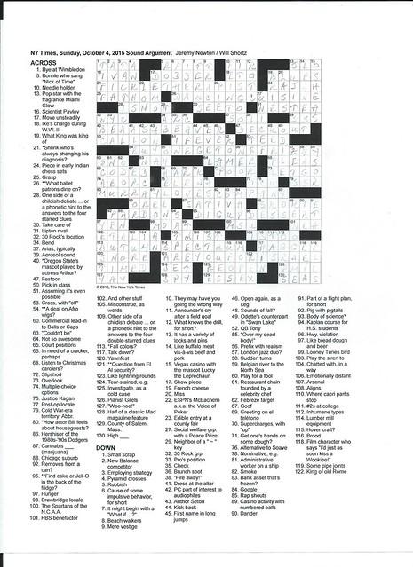 NYT Sunday Puzzle - October 4, 2015