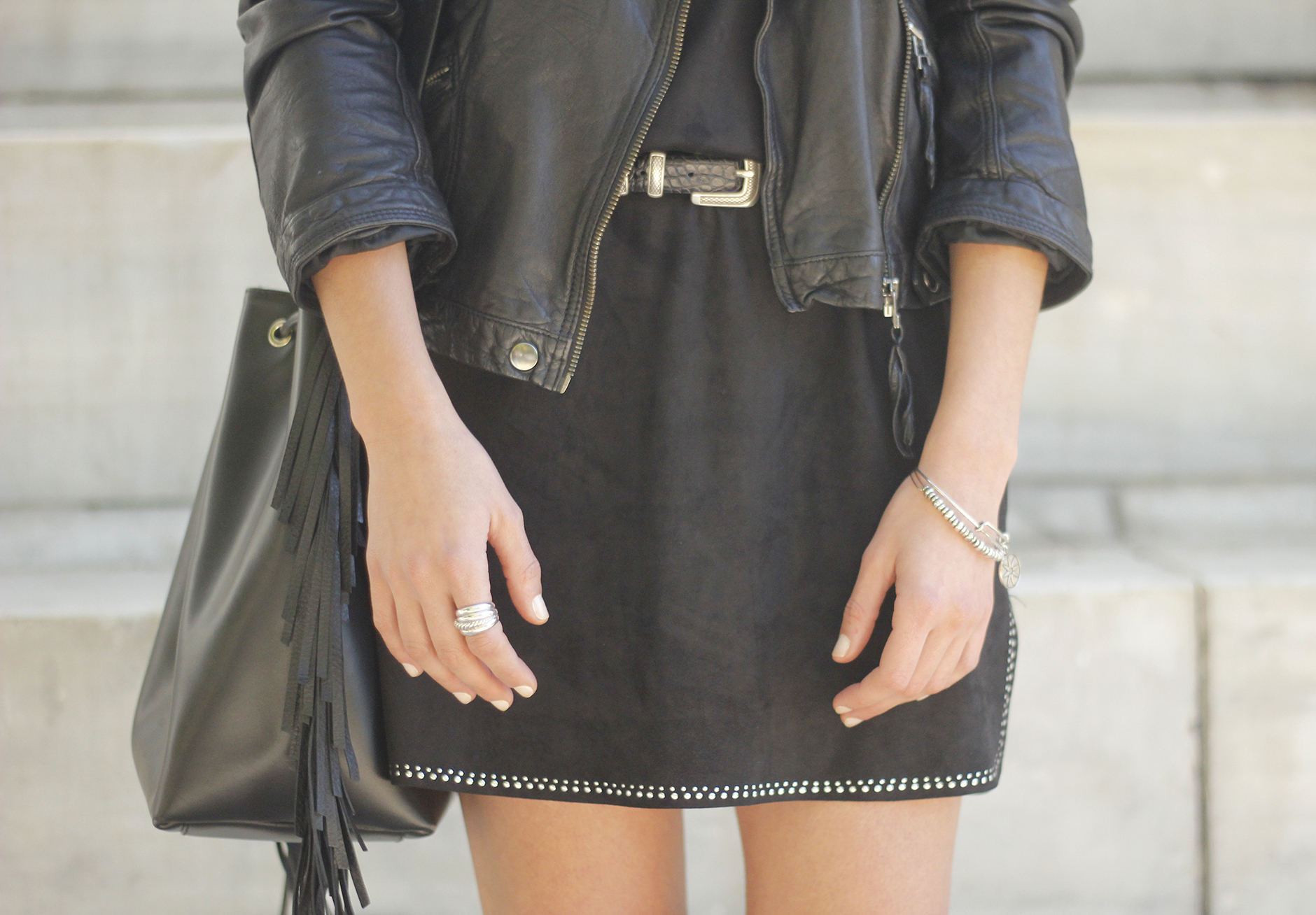 Black Leather jacket With Suede Black Dress Over the knee boots14