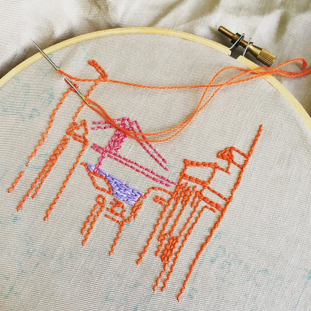 Can't find my 7 inch hoop and am working with a smaller one on this. The view of #Lisbon from my studio is slowly appearing :) come learn to embroider with my free e-course: http://www.airdesignstudio.com/embroidery-e-course/