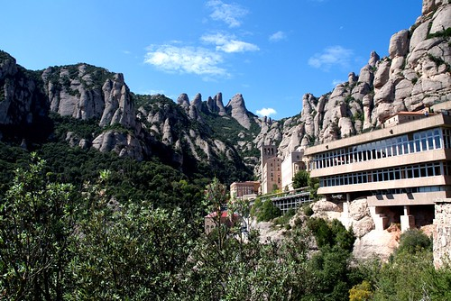 Montserrat mountain and Castellers in Catalunya