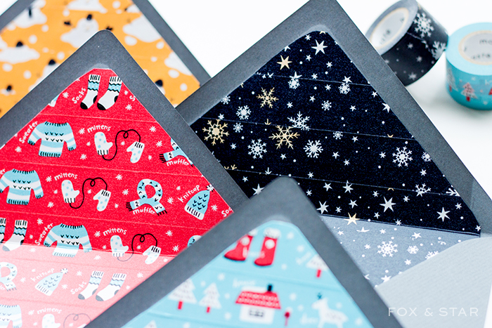 diy washi tape christmas envelope liners