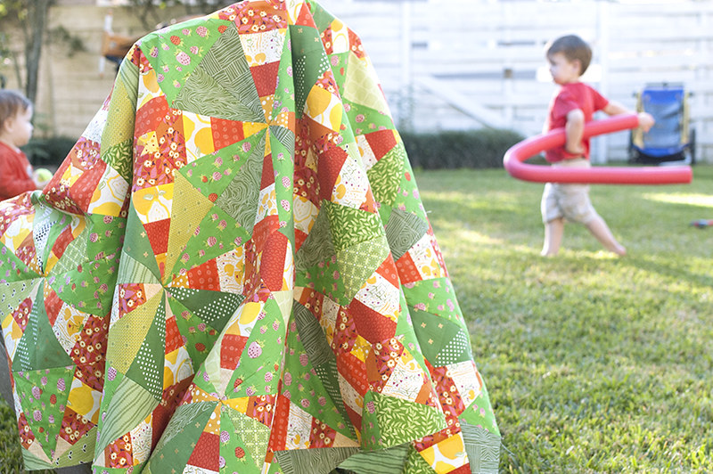 Firecrackers Quilt with kids