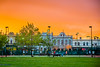Sunset over Nelson Place's heritage street scape, Williamstown, Victoria Australia.