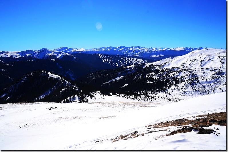 Overlooking southwest onto Tenmile & Mosquito Range from 12,414' Point 1
