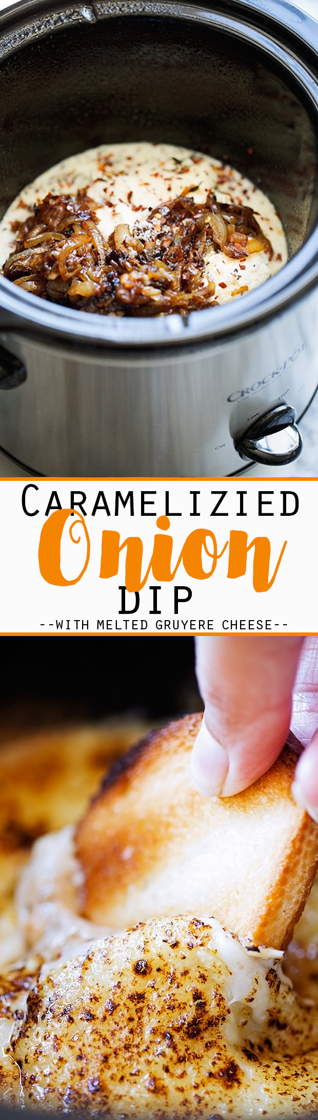 Hot Caramelized Onion Dip {Slow Cooker} - An easy dip to serve to party guests! The crowd WILL go wild! #caramelizedonions #dip #oniondip #slowcooker | Littlespicejar.com