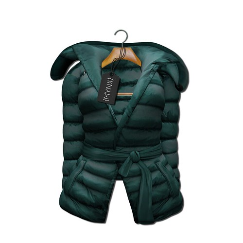 {MYNX} Puffy Tie Jacket - Teal Ad