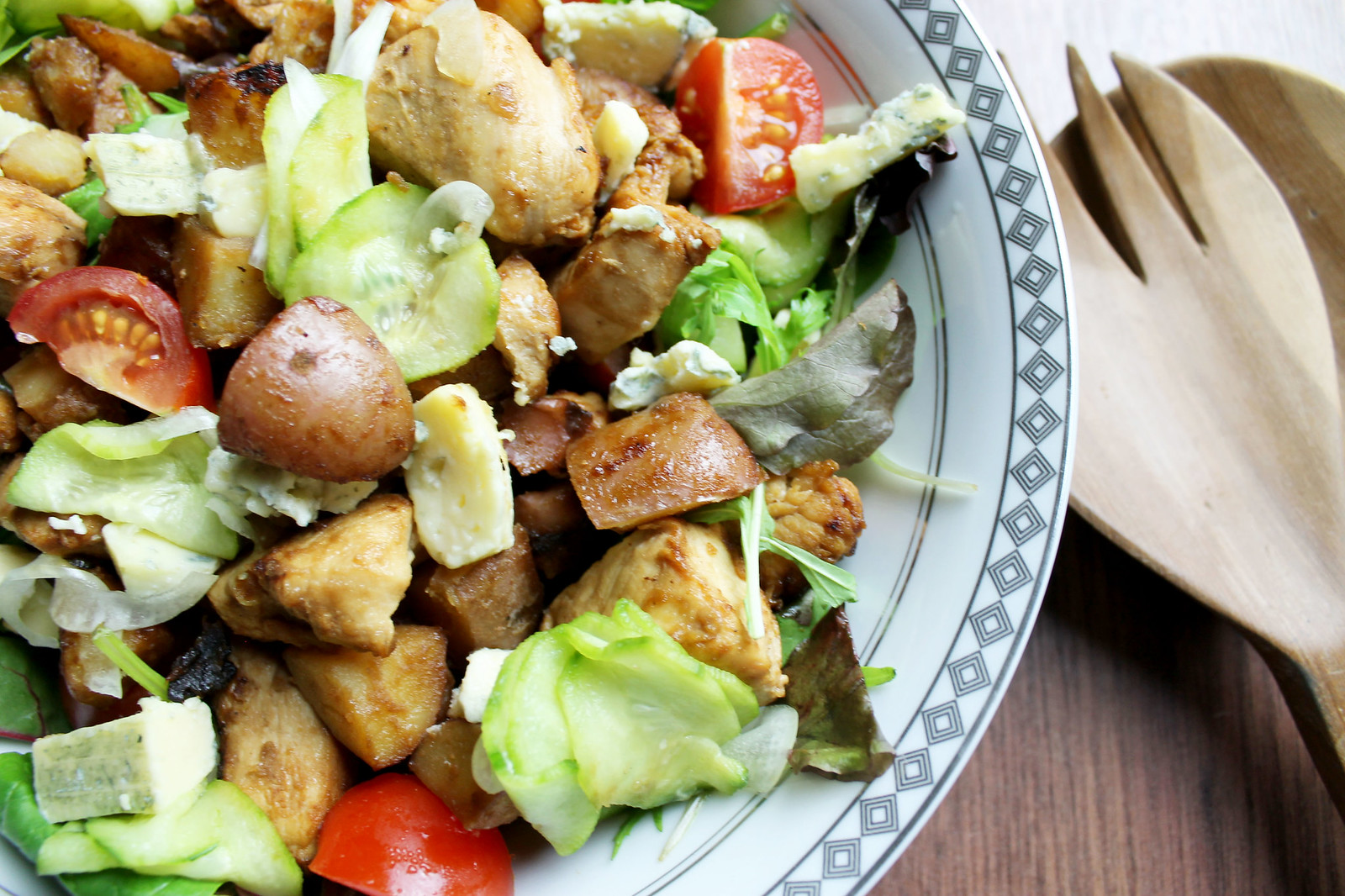 warm salad with sauteed potatoes