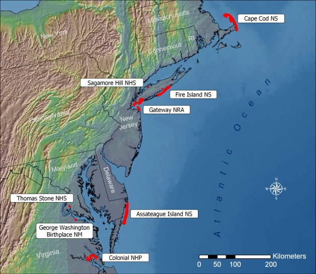 A regionally defined network of eight NPS sites from Massachusetts to Virginia, NCBN, which is part of the NPS Inventory and Monitoring Program, tracks the condition of coastal park ecosystems through long-term monitoring. NPS map.