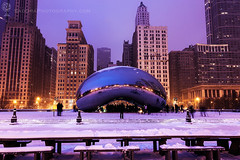 Winter in Chicago - The Bean and Michigan Avenue buildings