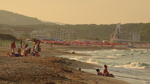 sunset summer people holiday beach water landscape evening sand waves view hills bulgaria primorsko