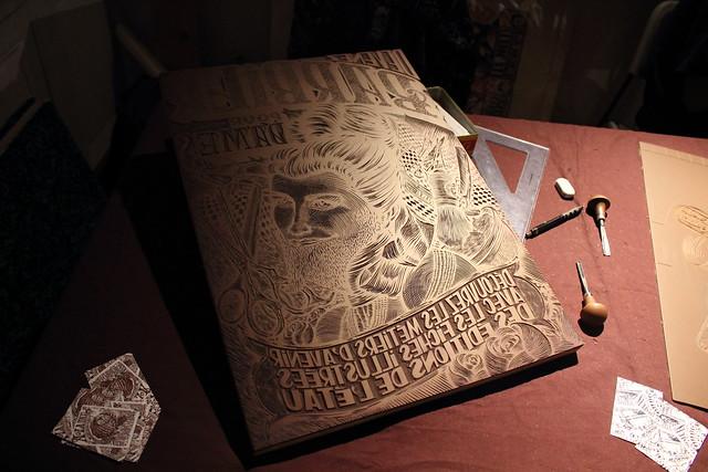 Linogravure - Les éditions de l'étau - Festival de la micro-édition, L'enfer, à Nancy