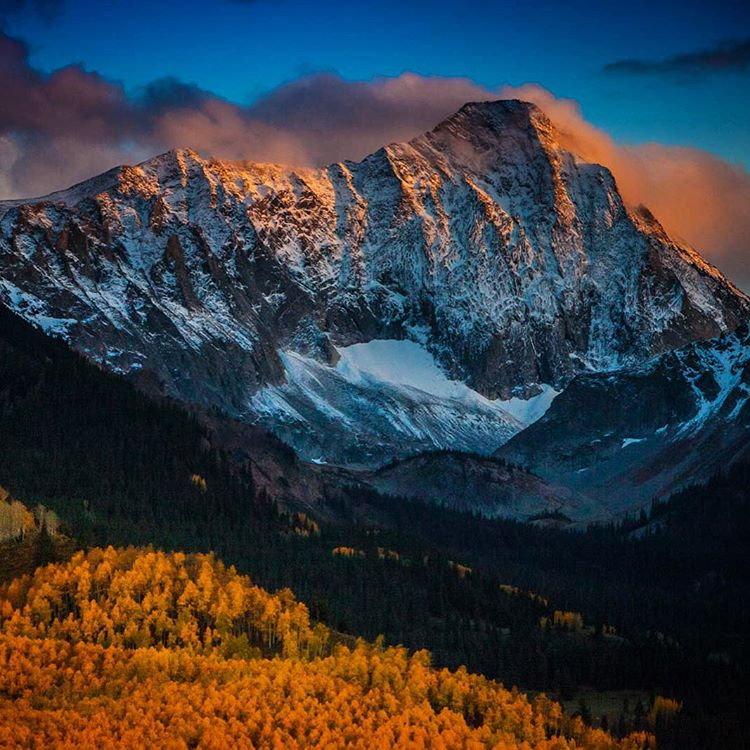 Capitol peak in the #aspensnowmass #wilderness at #sunset