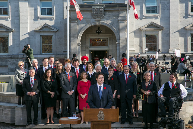 Prime Minister Justin Trudeau takes questions from the media following the swearing-in at Rideau Hall. November 4, 2015.