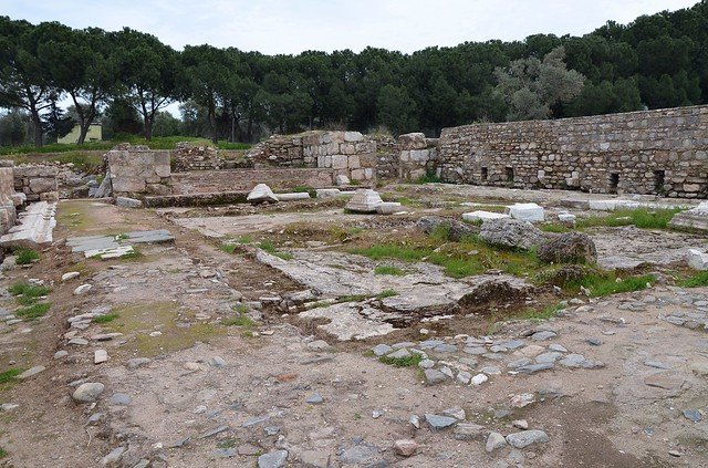 The latrines of the gymnasium, one the largest Roman latrines in Turkey, its capacity was for 65 people, Tralles, Lydia, Turkey