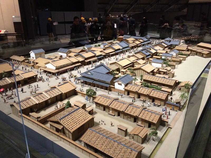 Model of old Tokyo town. Edo-Tokyo Museum.