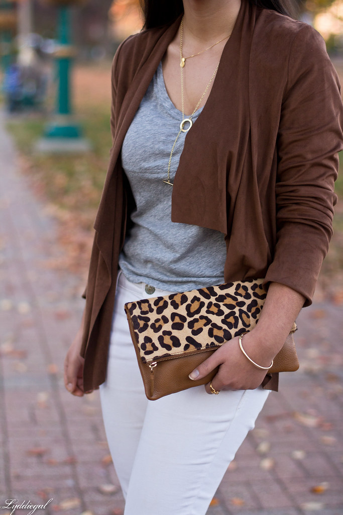 white denim, grey tee, draped jacket, leopard clutch-5.jpg