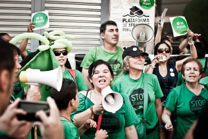 Acció reivindicativa de la PAH de Barcelona al Raval . Andrea Ciambra