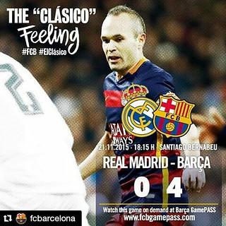 #Repost @fcbarcelona with @repostapp ・・・ [END MATCH | FINAL] Real Madrid vs FC Barcelona (0-4) 10' Luis Suárez 38' Neymar 54' Iniesta 74' Luis Suárez --- All about the match at www.fcbarcelona.com  Tot sobre el partit a www.fcbarcelona.cat  Todo sobre el