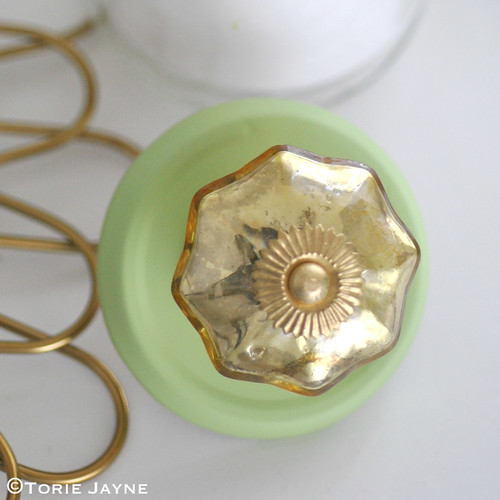 Vintage Melon Mercury Glass Door Knob Gold